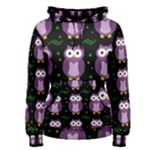 Halloween purple owls pattern Women s Pullover Hoodie