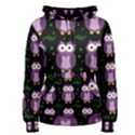 Halloween purple owls pattern Women s Pullover Hoodie View1