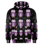 Halloween purple owls pattern Men s Zipper Hoodie