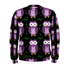 Halloween Purple Owls Pattern Men s Sweatshirt