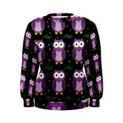 Halloween purple owls pattern Women s Sweatshirt