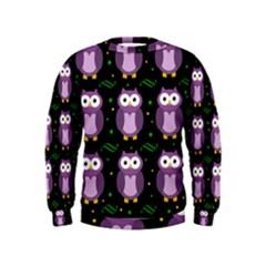 Halloween purple owls pattern Kids  Sweatshirt
