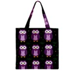 Halloween purple owls pattern Zipper Grocery Tote Bag