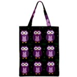 Halloween purple owls pattern Zipper Classic Tote Bag
