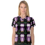 Halloween purple owls pattern Women s V-Neck Sport Mesh Tee