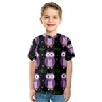 Halloween purple owls pattern Kids  Sport Mesh Tee