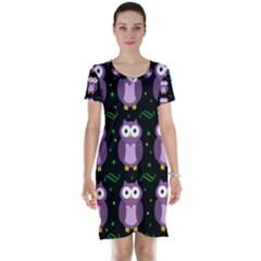 Halloween Purple Owls Pattern Short Sleeve Nightdress