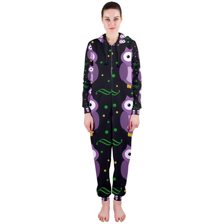Halloween purple owls pattern Hooded Jumpsuit (Ladies)