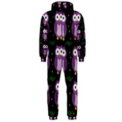 Halloween Purple Owls Pattern Hooded Jumpsuit (men)  by Valentinaart
