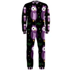 Halloween Purple Owls Pattern Onepiece Jumpsuit (men)