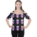 Halloween purple owls pattern Women s Cutout Shoulder Tee