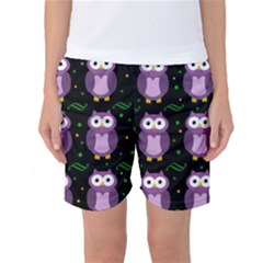 Halloween Purple Owls Pattern Women s Basketball Shorts