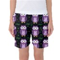 Halloween purple owls pattern Women s Basketball Shorts View1