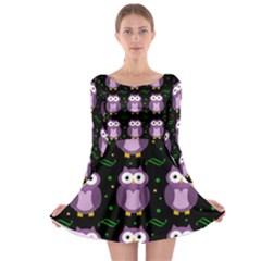 Halloween purple owls pattern Long Sleeve Skater Dress