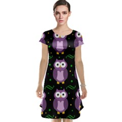 Halloween Purple Owls Pattern Cap Sleeve Nightdress