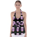 Halloween purple owls pattern Babydoll Tankini Top