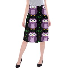 Halloween Purple Owls Pattern Midi Beach Skirt