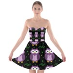 Halloween purple owls pattern Strapless Bra Top Dress