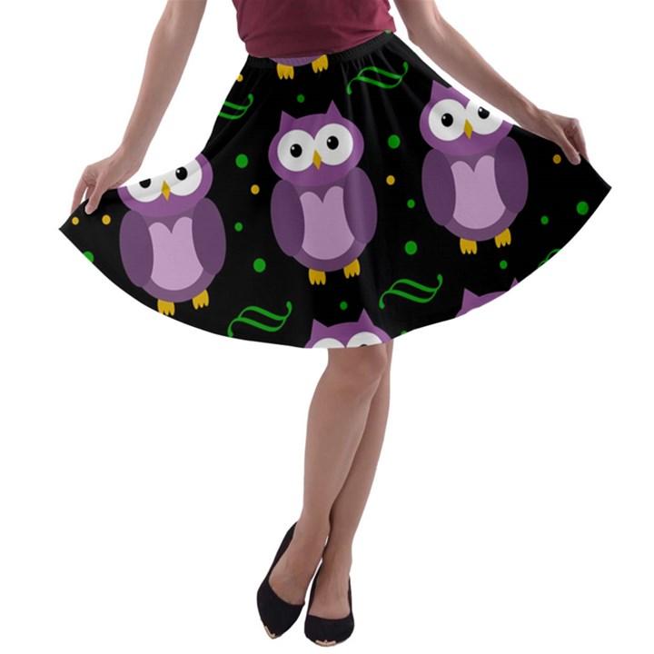 Halloween purple owls pattern A-line Skater Skirt