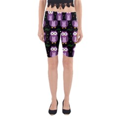 Halloween Purple Owls Pattern Yoga Cropped Leggings