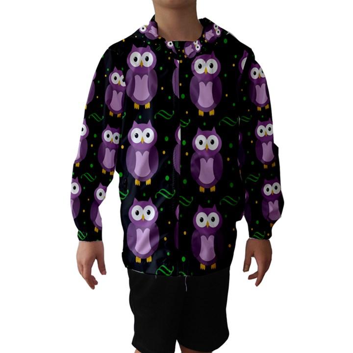 Halloween purple owls pattern Hooded Wind Breaker (Kids)