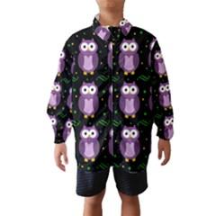 Halloween purple owls pattern Wind Breaker (Kids)