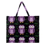 Halloween purple owls pattern Zipper Large Tote Bag