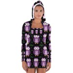 Halloween purple owls pattern Women s Long Sleeve Hooded T-shirt