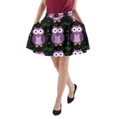 Halloween Purple Owls Pattern A Line Pocket Skirt