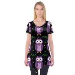 Halloween purple owls pattern Short Sleeve Tunic