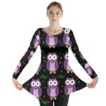 Halloween purple owls pattern Long Sleeve Tunic