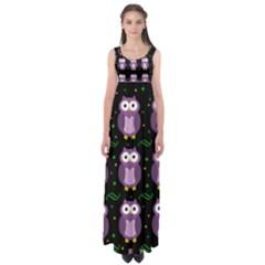 Halloween purple owls pattern Empire Waist Maxi Dress