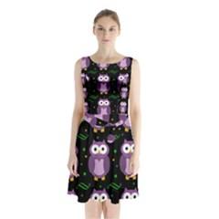 Halloween Purple Owls Pattern Sleeveless Chiffon Waist Tie Dress