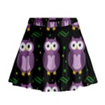 Halloween purple owls pattern Mini Flare Skirt