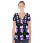 Halloween purple owls pattern Short Sleeve Front Detail Top