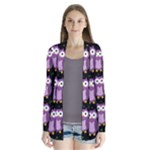 Halloween purple owls pattern Drape Collar Cardigan