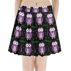 Halloween Purple Owls Pattern Pleated Mini Skirt