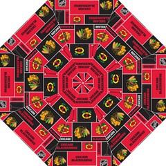 Chicago Blackhawks Nhl Block Fleece Fabric Hook Handle Umbrellas (medium) by Onesevenart