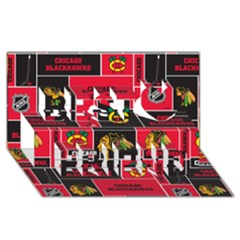 Chicago Blackhawks Nhl Block Fleece Fabric Best Friends 3d Greeting Card (8x4) by Onesevenart