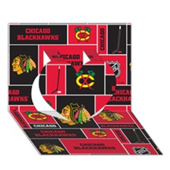 Chicago Blackhawks Nhl Block Fleece Fabric Heart 3d Greeting Card (7x5) by Onesevenart