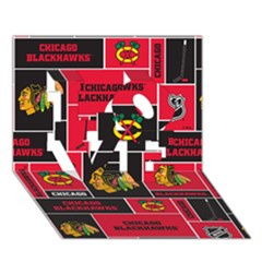 Chicago Blackhawks Nhl Block Fleece Fabric Love 3d Greeting Card (7x5) by Onesevenart
