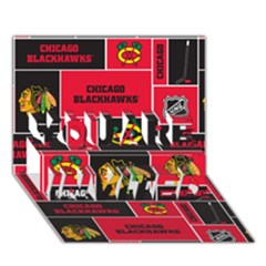 Chicago Blackhawks Nhl Block Fleece Fabric You Are Invited 3d Greeting Card (7x5) by Onesevenart