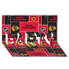 Chicago Blackhawks Nhl Block Fleece Fabric Party 3d Greeting Card (8x4) by Onesevenart
