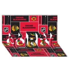 Chicago Blackhawks Nhl Block Fleece Fabric Sorry 3d Greeting Card (8x4) by Onesevenart