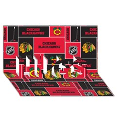 Chicago Blackhawks Nhl Block Fleece Fabric Hugs 3d Greeting Card (8x4) by Onesevenart