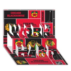 Chicago Blackhawks Nhl Block Fleece Fabric Work Hard 3d Greeting Card (7x5) by Onesevenart
