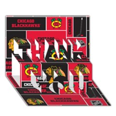 Chicago Blackhawks Nhl Block Fleece Fabric Thank You 3d Greeting Card (7x5) by Onesevenart