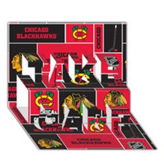 Chicago Blackhawks Nhl Block Fleece Fabric Take Care 3d Greeting Card (7x5) by Onesevenart