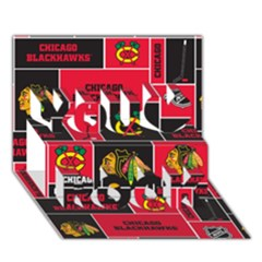 Chicago Blackhawks Nhl Block Fleece Fabric You Rock 3d Greeting Card (7x5) by Onesevenart