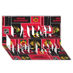 Chicago Blackhawks Nhl Block Fleece Fabric Laugh Live Love 3d Greeting Card (8x4) by Onesevenart